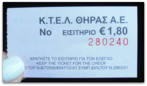 Bus ticket in Fira